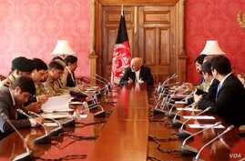 Afghan President Ashraf Ghani hosts visiting Pakistani National Security Adviser Nasser Janjua (left, next to Ghani) for official talks at Dilkusha presidential palace in Kabul, Afghanistan, March 17, 2018. (Courtesy - Afghan government)