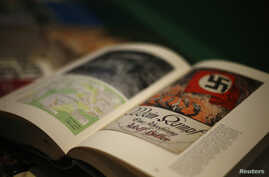 A copy of the book 'Hitler, Mein Kampf. A Critical Edition' lies on a display table in a bookshop in Munich, Germany, Jan. 8, 2016.