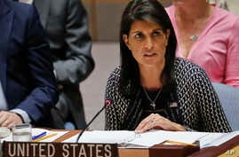 United Nations Ambassador from U.S. Nikki Haley address U.N. Security Council meeting on Myanmar's Rohingya crisis, Sept. 28, 2017, at U.N. headquarters.