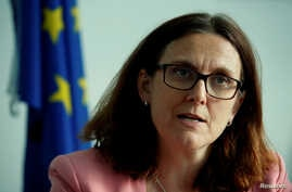 FILE - European Trade Commissioner Cecilia Malmstrom attends an interview with Reuters in Geneva, Switzerland, June 4, 2018.