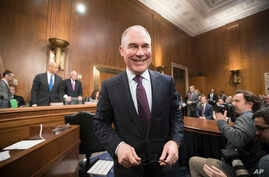 Environmental Protection Agency Administrator-designate Scott Pruitt arrives on Capitol Hill in Washington,  Jan. 18, 2017, to testify at his confirmation hearing before the Senate Environment and Public Works Committee.