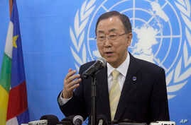 FILE - United Nations Secretary-General Ban Ki-moon speaks to the media during a press conference in Bangui, Central African Republic.