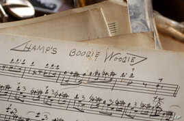 "An original handwritten song by Lionel Hampton titled ""Hamp's Boogie Woogie"" is seen at the Colored Musicians Club in Buffalo, New York, Jan. 14, 2005."