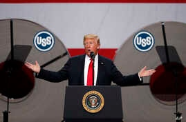 President Donald Trump speaks at the United States Steel Granite City Works plant, July 26, 2018, in Granite City, Ill.