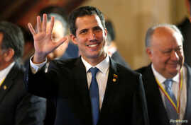 Venezuelan opposition leader Juan Guaido, who many nations have recognized as the country's rightful interim ruler attends a meeting of the Lima Group in Bogota, Colombia, Feb. 25, 2019.