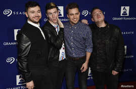 Rock band Walk The Moon poses at the 17th Annual GRAMMY Foundation Legacy Concert at the Wilshire Ebell Theater on Feb. 5, 2015, in Los Angeles.