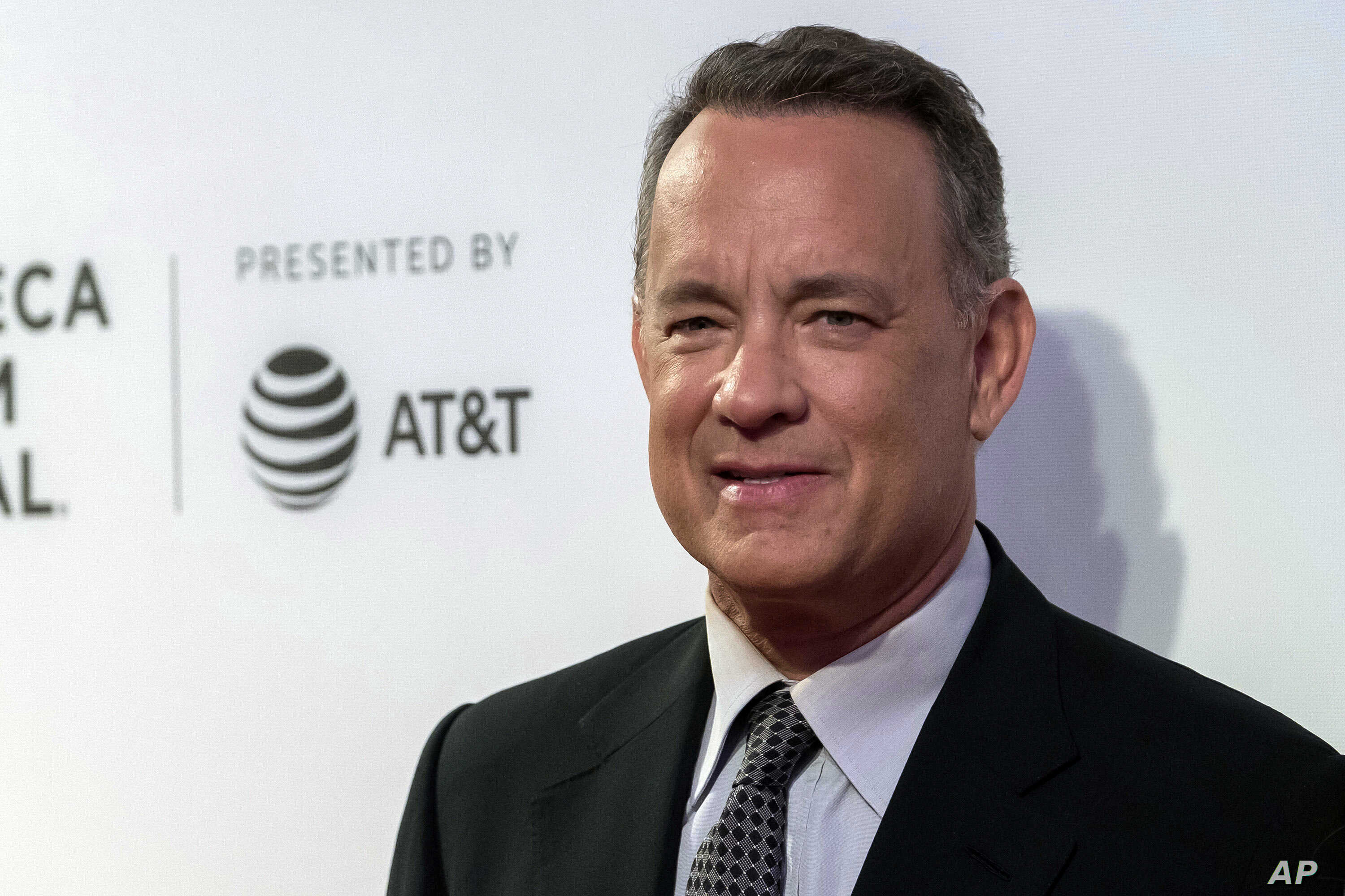 """FILE - Tom Hanks attends """"The Circle"""" premiere during the 2017 Tribeca Film Festival in New York, April 26, 2017."""