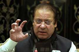 Nawaz Sharif, leader of Pakistan's largest opposition party, gestures during a media conference in Islamabad, Pakistan, in this Jan. 4, 2011 file photo.