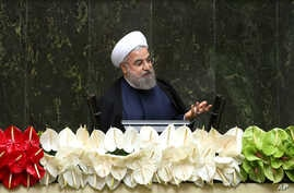 Iranian President Hassan Rouhani speaks during the inauguration of the new parliament, in Tehran, Iran, May 28, 2016.