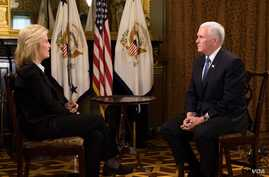 U.S. Vice President Mike Pence (R) is seen being interviewed by VOA contributor Greta Van Susteren in the vice president's ceremonial office in the Executive Office Building in Washington, Jan. 3, 2018. (Source: Twitter - @VP)