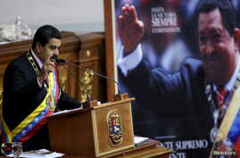 Venezuela's President Nicolas Maduro speaks at the national assembly in Caracas, July 6, 2015.
