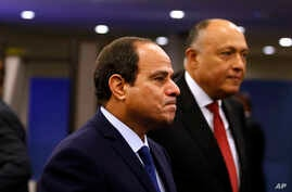 FILE - Egypt's President Abdel Fattah el-Sissi, foreground, arrives for the 70th session of the U.N. General Assembly at U.N. headquarters, Sept. 28, 2015.