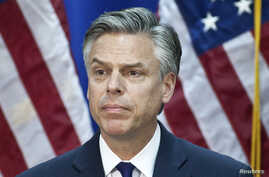 Republican presidential candidate and former Utah Governor Jon Huntsman speaks at the Myrtle Beach Convention Center in Myrtle Beach, South Carolina, Jan. 16, 2012.