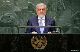 Afghanistan's Chief Executive Abdullah Abdullah addresses the 73rd session of the United Nations General Assembly at U.N. headquarters in New York, Sept. 26, 2018.