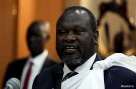 South Sudan's opposition leader Riek Machar speaks during a briefing ahead of his return to South Sudan as vice president, in Ethiopia's capital Addis Ababa April 9, 2016.