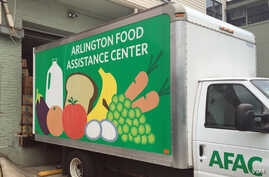 A truck serving the Arlington Food Assistance Center in Arlington, Virginia delivers donated groceries. June 28, 2016 (VOA/CMaddux)