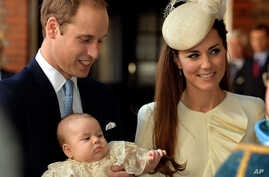 Britain's Prince William, Kate Duchess of Cambridge with their son Prince George arrive at Chapel Royal in St James's Palace in London, for the christening of the three month-old Prince George, Oct. 23, 2013.