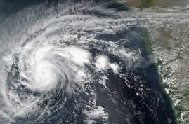 The Suomi NPP satellite captured this image of Cyclone Chapala on Oct. 29, 2015. The strengthening storm is moving in a north-northwest direction at a rate of about 10 kilometers (6 miles) per hour. The storm will likely make landfall in Yeman or Oma