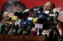 Esam Elaryan vice president of Freedom Justice Party, the political branch of the Muslim Brotherhood, speaks at a press conference in Cairo, Egypt, Friday, May 25, 2012.