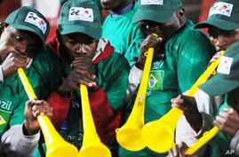 South African fans blow vuvuzelas in support of Brazil at last year's Confederation Cup in South Africa
