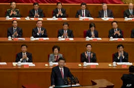Chinese President Xi Jinping speaks at the commemorative meeting to mark the 150th anniversary of the birth of Sun Yat-sen, founding father of the Republic of China and founder of the Chinese National Party (KMT) at the Great Hall of the People in Be