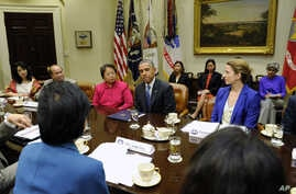 President Barack Obama meets with Asian American and Pacific Islander (AAPI) business and faith leaders to discuss immigration reform, May 2, 2014, at the White House in Washington.