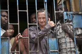 """David Cecil, the British producer of the play """"The River and the Mountain"""" concerning the condition of Uganda's gays, in a court cell in Kampala on September 13, 2012."""