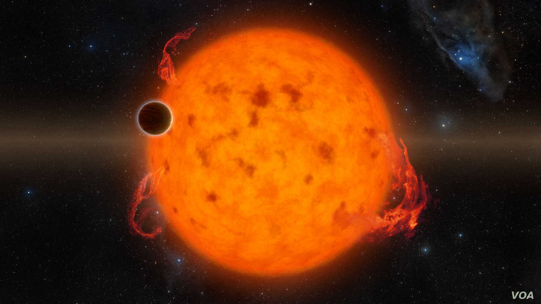 K2-33b, shown in this illustration, is one of the youngest exoplanets detected to date using NASA's Kepler Space Telescope.  K2-33b, shown in this illustration, is one of the youngest exoplanets detected to date. It makes a complete orbit around its