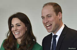 Britain's Prince William and Catherine, Duchess of Cambridge, share a laugh in London, March 10, 2016. They plan to tour the Taj Mahal during a trip to India in April.