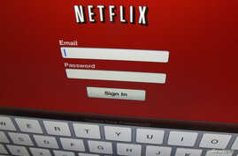 The Netflix sign on is shown on an iPad in  Encinitas, California, April 19,2013. Netflix Inc reported on April 22, 2013 a first-quarter profit that beat Wall Street expectations as the dominant video rental service added new streaming subscribers in