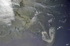 This visible image of the Gulf oil slick was taken on May 9, 2010