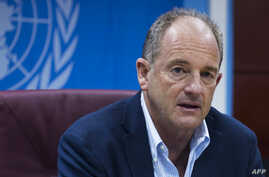 David Shearer, Special Representative of the Secretary-General speaks at a press conference on June 29, 2018 in Juba, South Sudan, on the peace process in the country.