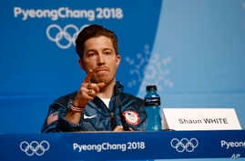 Men's halfpipe gold medalist Shaun White, of the United States, speaks at a news conference at the 2018 Winter Olympics in Pyeongchang, South Korea, Wednesday, Feb. 14, 2018.