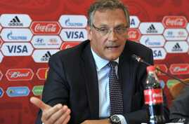 FIFA Secretary General Jerome Valcke speaks to the media during a news conference in Samara, Russia, June 10, 2015.