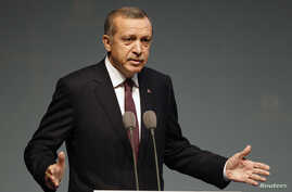 Turkey's Prime Minister Tayyip Erdogan address an audience during the European Bank for Reconstruction and Development's (EBRD) 2013 Annual Meeting and Business Forum in Istanbul May 10, 2013. Erdogan said Turkey would support a U.S.-enforced no-fly
