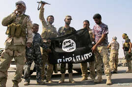 Iraqi security forces and Shi'ite militias pull down a flag belonging to Islamic State militants in Amerli, Sept. 1, 2014.