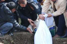 One of the bodies being lowered into a grave in the town of Chon-Tash, Kyrgyzstan