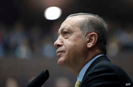 Turkey's President Recep Tayyip Erdogan looks toward cheering supporters as he addresses the members of his ruling party at the parliament in Ankara, Oct. 3, 2017.