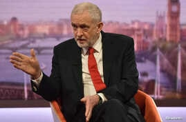 Jeremy Corbyn, the leader of Britain's Labor Party attends the BBC's Marr Show in London, April 15, 2018.
