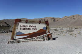 A view of the  Death Valley National Park sign is seen in Death Valley, Calif., Feb. 14, 2017.