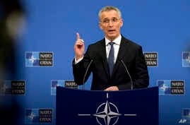NATO Secretary General Jens Stoltenberg speaks during a media conference at NATO headquarters in Brussels, April 1, 2019.