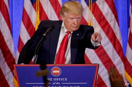 President-elect Donald Trump takes questions during a news conference, Jan. 11, 2017, in New York. The news conference was his first as President-elect.