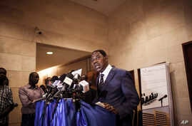 Benin President Thomas Boni Yayi speaks to media after he had talks with Gen. Gilbert Diendere, who was named leader of Burkina Faso, in Ouagadougou, Burkina Faso, Sept. 19, 2015.