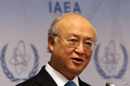 Director General of the International Atomic Energy Agency, IAEA, Yukiya Amano addresses the media during a news conference at the International Center, in Vienna, Austria, June 2, 2014.