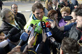FILE - Spanish tennis player Rafael Nadal talks with reporters in front of a hospital after successfully undergoing an operation to remove his appendix in Barcelona, Spain, Nov. 5, 2014. Nadal had tried to treat his appendix with antibiotics before o