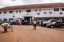 A outside view of the Connaught Hospital in Freetown that is used for treatment of Ebola virus victims in the city of Freetown, Sierra Leone, Aug. 6, 2014.