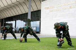 Vietnamese soldiers check chemical weapons at the National Convention Center, the venue for World Economic Forum on ASEAN in Hanoi, Vietnam September 10, 2018.
