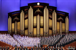 FILE - The Mormon Tabernacle Choir sings at the first session of the Church of Jesus Christ of Latter-day Saints' 185th annual General Conference in Salt Lake City, Utah, April 4, 2015.