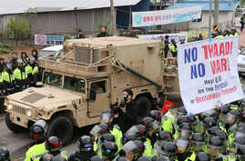 A U.S. military vehicle which is a part of Terminal High Altitude Area Defense (THAAD) system arrives in Seongju, South Korea, April 26, 2017.