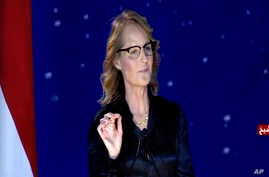 This Nov. 5, 2017 image taken from video, shows American actress Helen Hunt speaking during a government-organized youth conference in the Red Sea resort of Sharm el-Sheikh, Egypt. Egyptian activists have condemned Hunt for her participation in the c